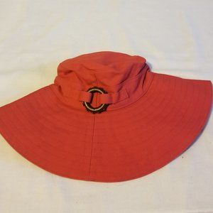 Gap Red Canvas Hat Wood Ring New